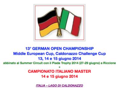 13° GERMAN OPEN e CAMPIONATO ITALIANO MASTER – 13/15 GIUGNO